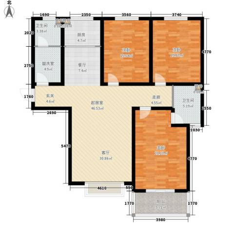 天洲沁园3室0厅2卫1厨138.00㎡户型图