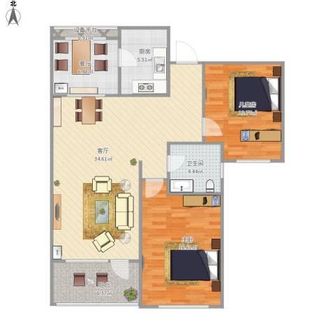 恒瑞 大湖山语2室2厅1卫1厨118.00㎡户型图
