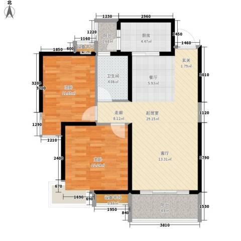 高山流水幸福快车2室0厅1卫1厨95.00㎡户型图