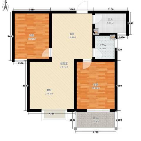 天洲沁园2室0厅1卫1厨87.00㎡户型图