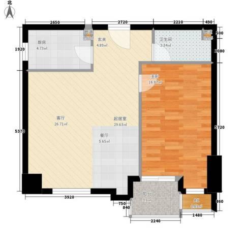 尚德大厦1室0厅1卫1厨65.00㎡户型图