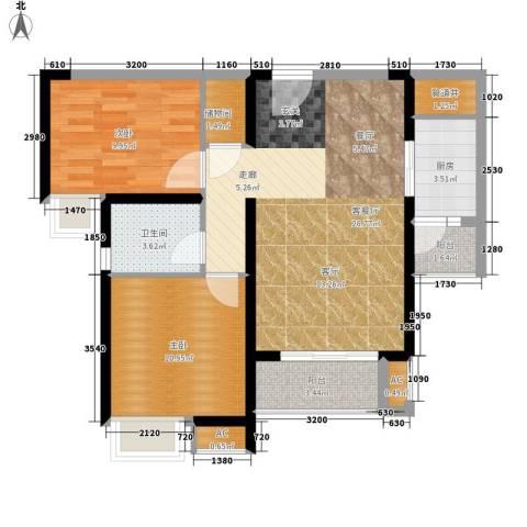 中海熙岸2室1厅1卫1厨74.22㎡户型图