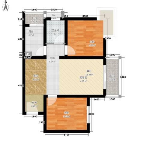 明珠花园2室0厅1卫1厨81.00㎡户型图