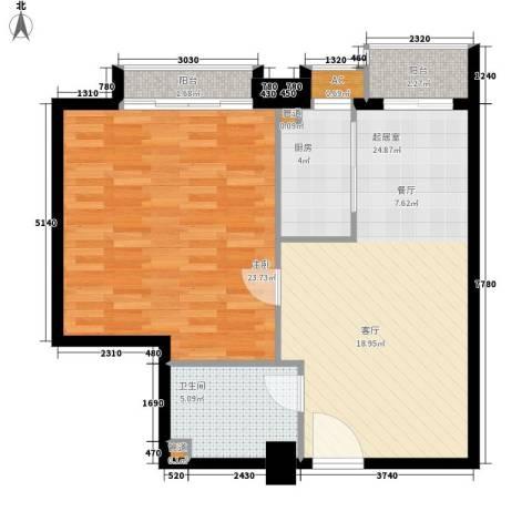 尚德大厦1室0厅1卫1厨70.00㎡户型图