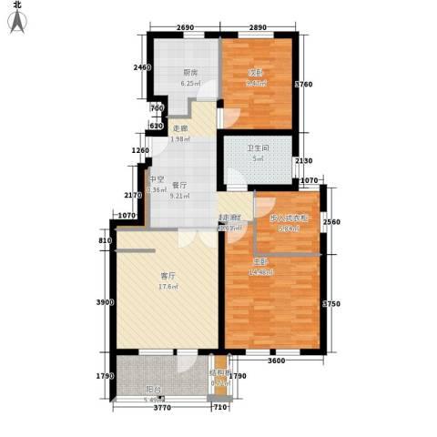 毕加索小镇2室1厅1卫1厨90.00㎡户型图