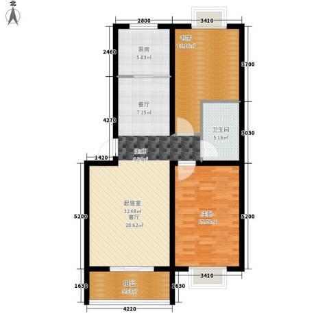 阳光小郡2室0厅1卫1厨88.00㎡户型图