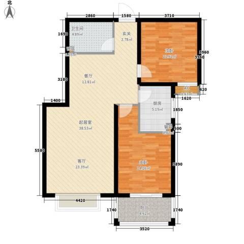 天洲沁园2室0厅1卫1厨92.00㎡户型图
