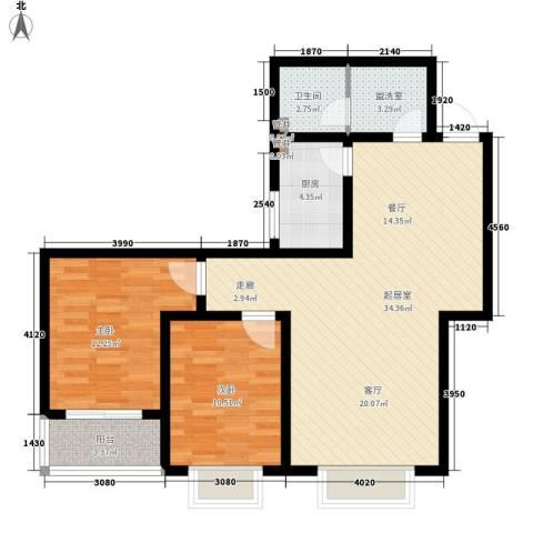 天洲沁园2室0厅1卫1厨82.00㎡户型图
