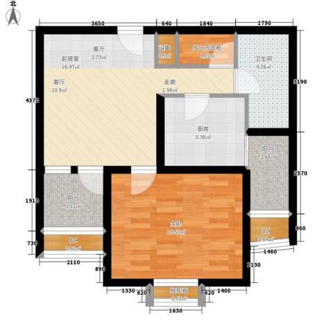 毕加索小镇1室0厅1卫1厨60.00㎡户型图