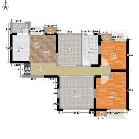 中海熙岸2室0厅1卫1厨88.00㎡户型图