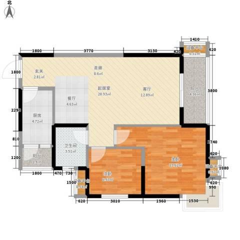 高山流水幸福快车2室0厅1卫1厨88.00㎡户型图
