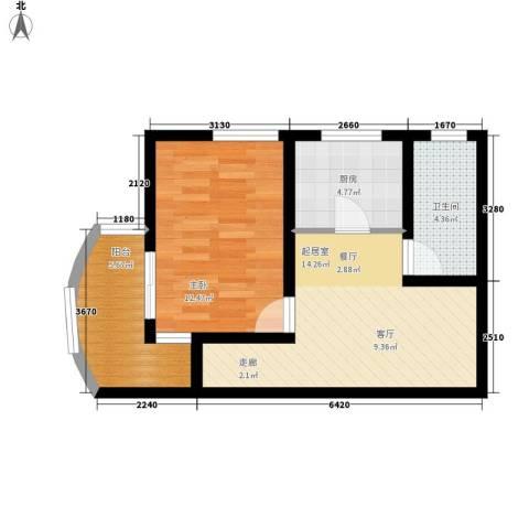 名仕嘉园1室0厅1卫1厨49.00㎡户型图