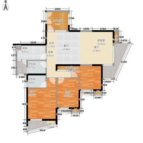 顺天黄金海岸3室0厅2卫1厨156.00㎡户型图