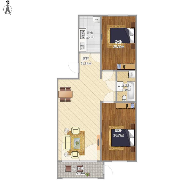 左庭右院88.54两室一厅