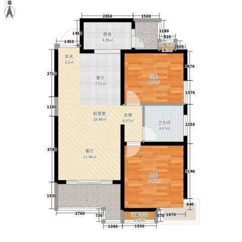 高山流水幸福快车2室0厅1卫1厨97.00㎡户型图