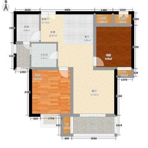 居礼2室1厅1卫1厨103.00㎡户型图