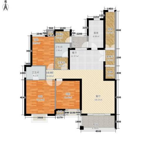 新悦润居3室0厅2卫1厨136.00㎡户型图