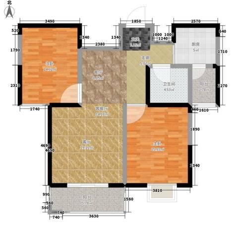 双维花溪湾2室1厅1卫1厨92.00㎡户型图