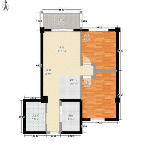 八水上筑2室1厅1卫1厨100.00㎡户型图