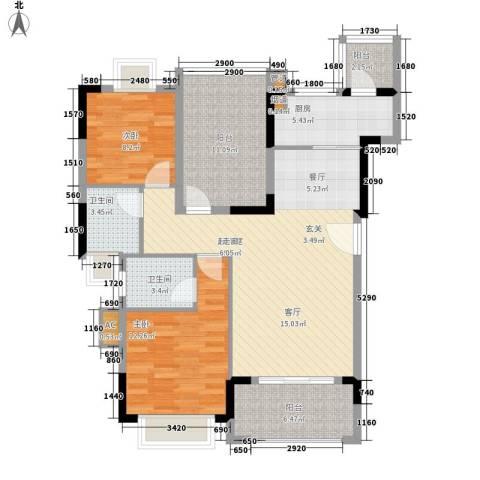 翰林国际2室0厅2卫1厨97.00㎡户型图