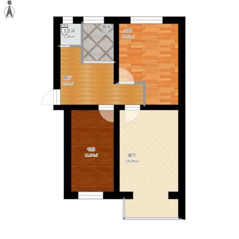 新街口外大街甲28号院2室2厅1卫1厨88.00㎡户型图