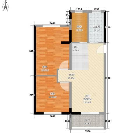 八水上筑2室1厅1卫1厨91.00㎡户型图