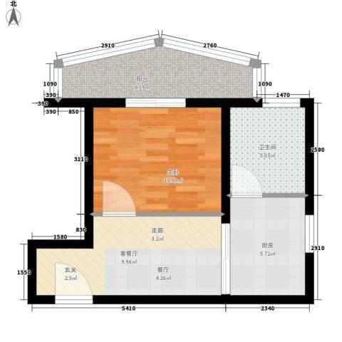 名仕嘉园1室1厅1卫1厨48.00㎡户型图