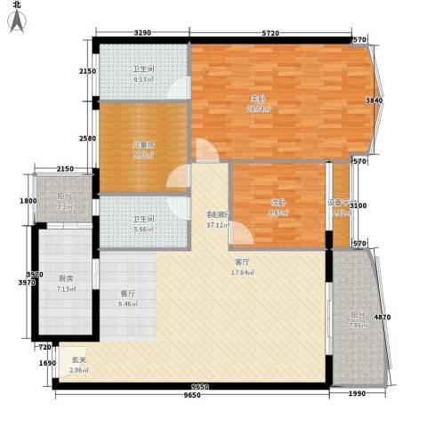 荔城碧桂园3室1厅2卫1厨133.00㎡户型图