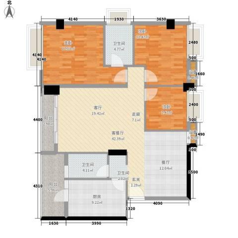 都市兰亭3室1厅2卫1厨121.00㎡户型图