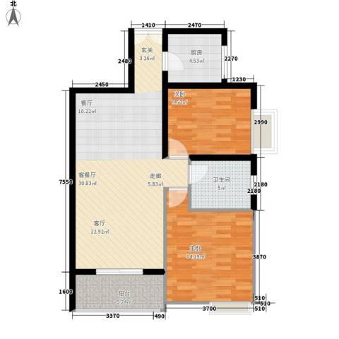宏林名座2室1厅1卫1厨77.85㎡户型图
