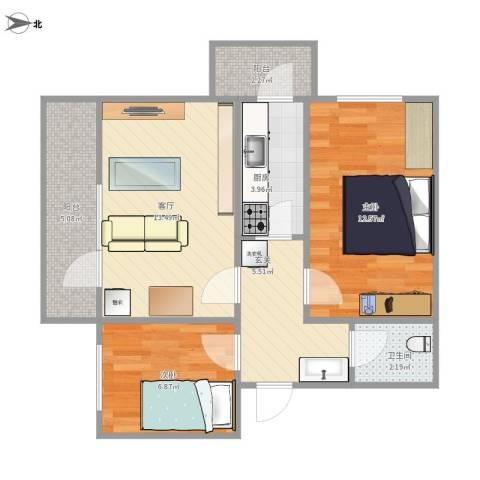 花园路1号院2室1厅1卫1厨71.00㎡户型图