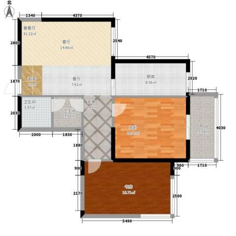 东南春晓2室1厅2卫1厨95.00㎡户型图