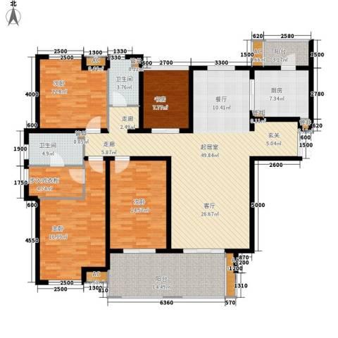 中海御湖公馆4室0厅2卫1厨168.00㎡户型图