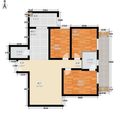 宏林名座3室1厅2卫1厨116.00㎡户型图