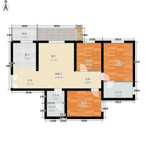 宏林名座3室1厅3卫1厨95.55㎡户型图