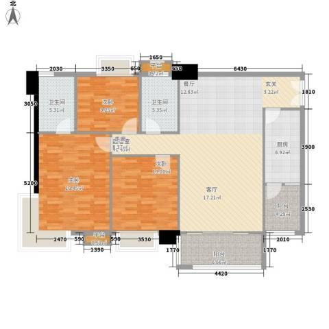 东海嘉园3室0厅2卫1厨124.00㎡户型图