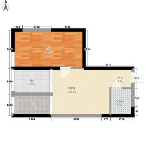 长安大街三号1室0厅1卫1厨58.00㎡户型图
