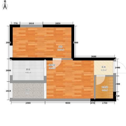 长安大街三号1室0厅1卫1厨57.00㎡户型图