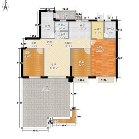 都市兰亭3室1厅2卫1厨129.00㎡户型图