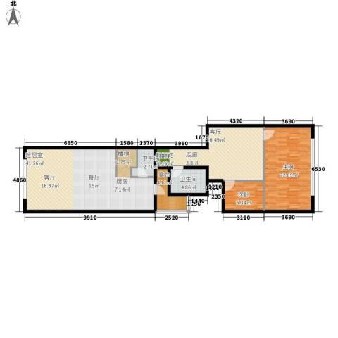 思罕国际复式公寓2室0厅2卫0厨115.00㎡户型图