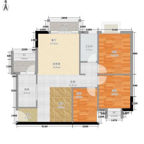 云景名都3室0厅1卫1厨108.00㎡户型图