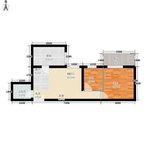 宏林名座2室1厅1卫1厨57.20㎡户型图
