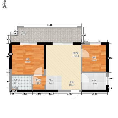 长安大街三号2室0厅1卫1厨63.00㎡户型图