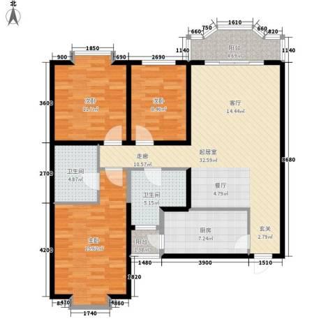 伟丰花园3室0厅2卫1厨129.00㎡户型图