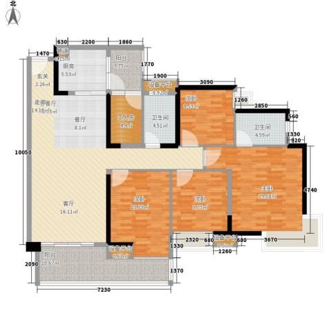 中海金沙湾4室1厅2卫1厨145.00㎡户型图