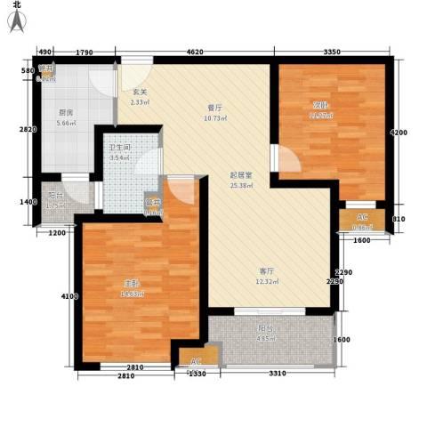 中海御湖公馆2室0厅1卫1厨89.00㎡户型图