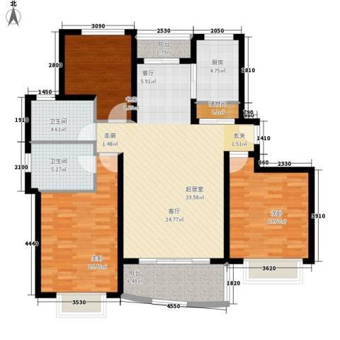 康桥半岛城中花园3室0厅2卫1厨136.00㎡户型图