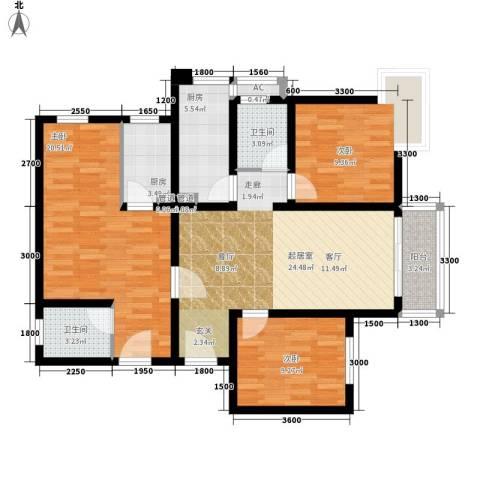 杰信花园3室0厅2卫2厨123.00㎡户型图