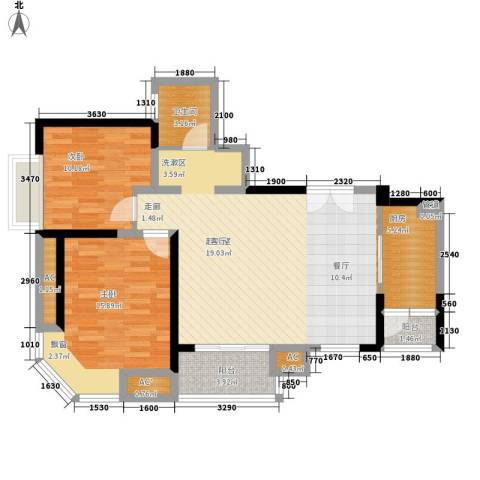 中海瀛台2室0厅1卫1厨89.00㎡户型图