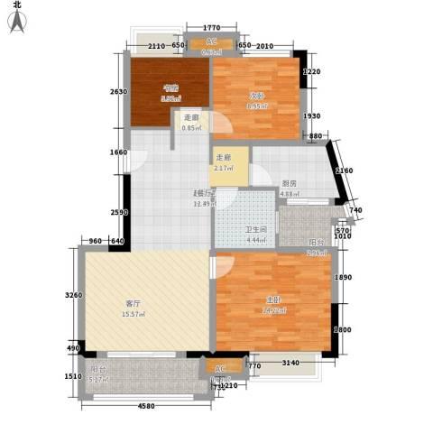 中海瀛台3室0厅1卫1厨89.00㎡户型图